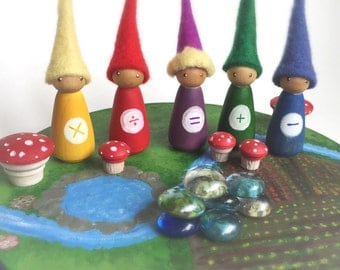 Math Gnomes, set of 5 peg dolls, four processes, mathmatics manipulative, wood peg people, waldorf, sensory, oak meadow, wood and felt,