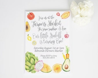 Farmers Market Watercolor Birthday or Event Invite and Thank You Tags