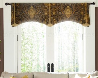 Waverly Byzance Black Gold Traditional Paisley Valance, Arched Trumpet Double Wide