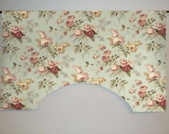 Waverly Emma's Garden Cabbage Rose Floral Custom Valance Curtain, Mist