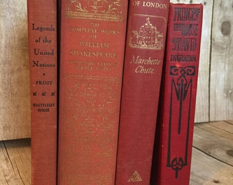 Red Decorative Vintage Books