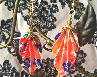 Origami Leaf Earrings- Flower Pattern-Nickel Free