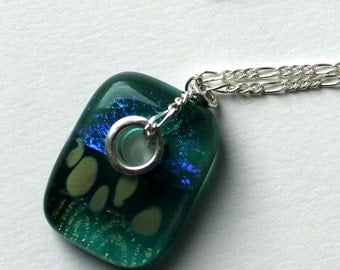 Dichroic Glass and Sterling Silver Necklace  ~ Ula