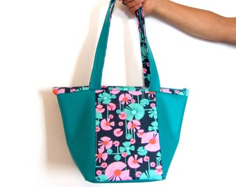 Green floral handbag, green vegan handbag for woman, green handbag with pink flowers, pink and green graphic fabric bag