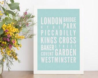London Vintage Subway Sign, London Subway Sign, Vintage London Poster, MInt Home Decor, MInt Subway Print, Mint Subway Art, Mint Green Decor