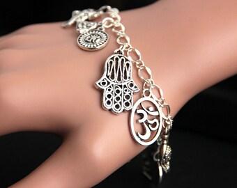 Hindu Bracelet. Charm Bracelet. Buddhist Bracelet. Hindu Jewelry. Silver Bracelet. Buddhist Jewelry. Hinduism Bracelet. Handmade Bracelet.