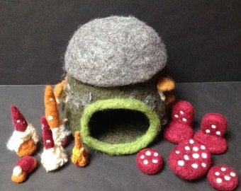 Woodland Gnome House and Family with Furniture-Needle Felted Wool