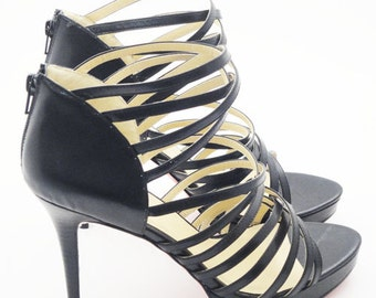 Large Size Black Strappy Sandals