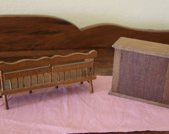 Miniature Bench or Fireplace for Your Dollhouse  Your Choice