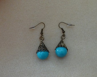 Turquoise with Antique Filigree Earrings