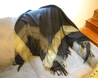 Black and Olive Green Shawl