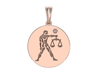 Libra Necklace, Zodiac Jewelry, Zodiac Necklace, Gold Necklace, Rose Gold Jewelry, White Gold Necklace, Solid Gold Zodiac Necklace