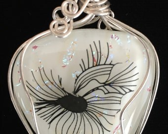 Silver Filled Wire Wrapped White Glass Fused/Kilnformed Pendant with Dichroic & Black Decal