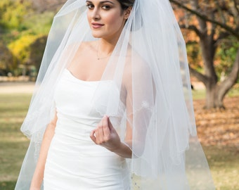 Two Tier Cathedral Veil with Silver Threading and Floral Beading