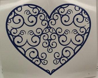 Heart Vinyl Decal with Fancy Swirl Design/Heart Decal/Swirl/Yeti Decal/Car Decal/Laptop Decal Sticker