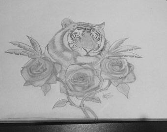 Tiger hand drawn tattoo design sketch