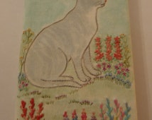 Vintage Embroidered Book Cat in a Garden Hand Made Notebook Cover Refillable