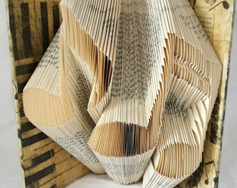 folded music book - folded book art -  book sculpture - book fold - paper anniversary - book decor - best selling art - best selling items