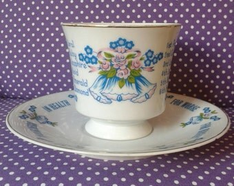 1970s Wedding Anniversary Gift Cup and Saucer. Wedding year list, anniversary present. Vintage anniversary present. Made in Japan.
