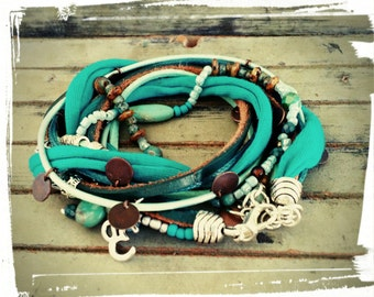Sale**Bohemian Spring - Leather & Suede Wrap Bracelet/Necklace- Teal, Mint, Seafoam and Turquoise Beads  - Silver/Beaded Charms -Hippie Chic