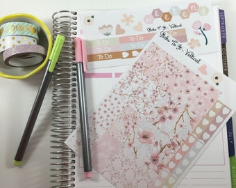 Cherry Blossom Mini Weekly Set ECLP Horz & Vert Planner Stickers Full Week Set Floral ECLP Mambi Inkwell Press Filofax KikkiK Happy