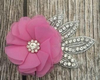 Pink hair clip, wedding hair clip, floral hair clip, rhinestone hair clip, vintage hair clip, flower hair clip