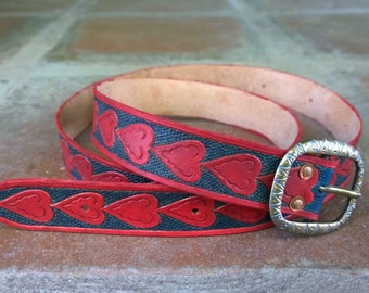 Heart Motif Leather Medieval Style Belt