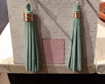 Handmade leather tassel earrings