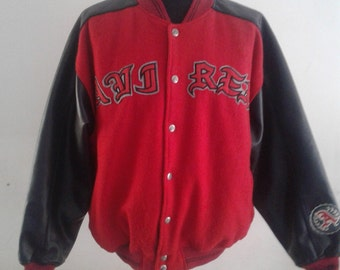 RARE VINTAGE Avirex Red/Black Reversible Leather/Cloth Jacket Size L