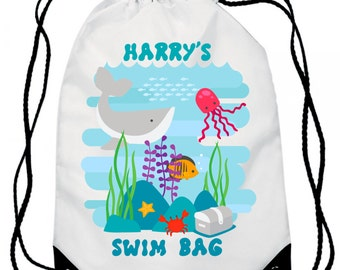Swim Bag, Swimming Bag Fishes,  Personalized / Personalised , Gym Bag / Backpack - Sport Bag - Activity Bag