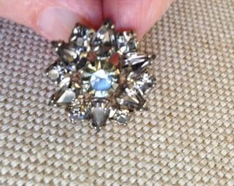 Weiss smoky gray rhinestone earrings