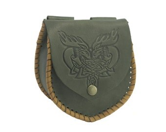 Medieval Leather Bag, Bag with embossing, 100% Genuine Leather Handmade in dark green color, Waist bag; Hip bag