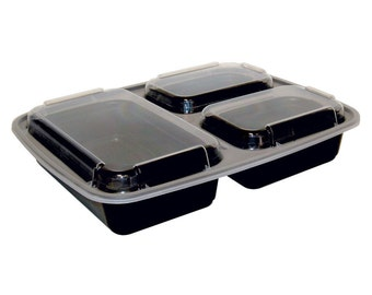 10 Sets of 3 Compartment Meal Prep Containers w/ Lids