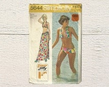 Two Piece Bathing Suit Pattern • Simplicity 5644 • Swim Suit With Wrap • 1970s Beach Fashion • Vintage Vacation Look • 70s Retro Pattern