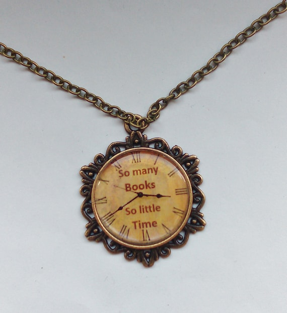 Book pendant / necklace. Antique bronze look with lead+nickle free chain. So many books, so little time.