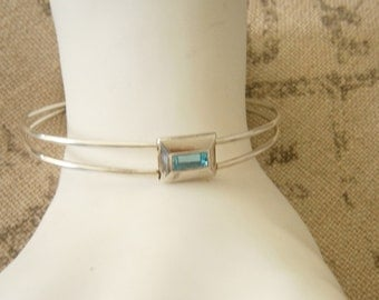 Bahama Blue Stone Silver Plated Cuff Bracelet PD