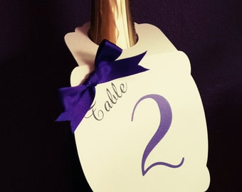 Personalised Bottle Tag/ Table Number Card/Seating Plan/Menu - Any Colour