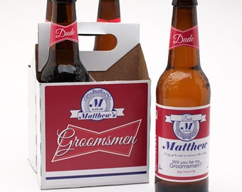 4 pack Personalized Wedding Party Budweiser Beer Bottle Label Kit (PPDJM1732449)