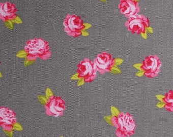 Miniature rose (taupe) - cotton fabric with small rose - 0, 5 m