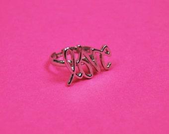 Silver LOVE script font cursive ring jewelry accessories