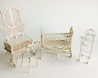 Vintage White Metal Doll Furniture