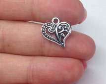 X 6 heart charms - antique silver plated, love charms, unique charms for jewelry making, charms for bracelet, silver jewelry supplies,