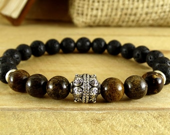 gemstone bracelet oil diffuse bracelet viking beads bracelet lava rock bracelet boyfriend bracelet mens bracelet nordic bracelet talisman