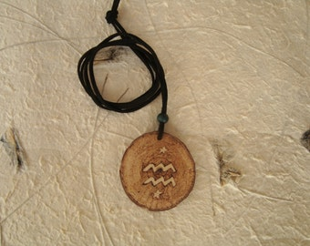 Handmade Aquarious starsign pendant, woodburned by hand, zodiac necklace, constellation, gift, star, pagan, wiccan, spiritual,  astrology