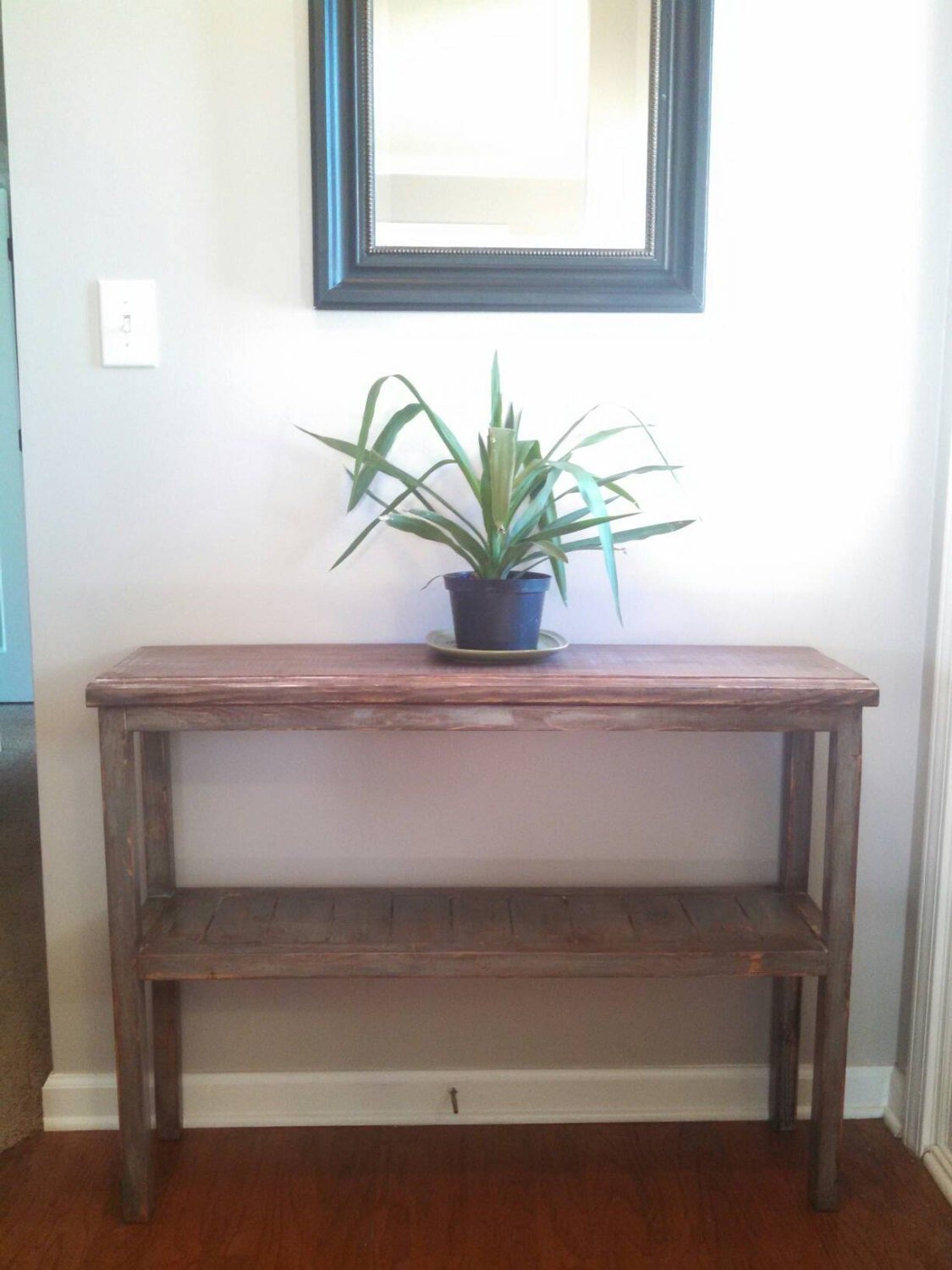 Foyer Table Etsy : Simple rustic blue entryway table by creativecaresec on etsy