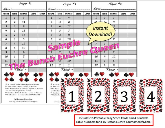 Person Euchre Rotation Score Sheet  Score Card  Euchre