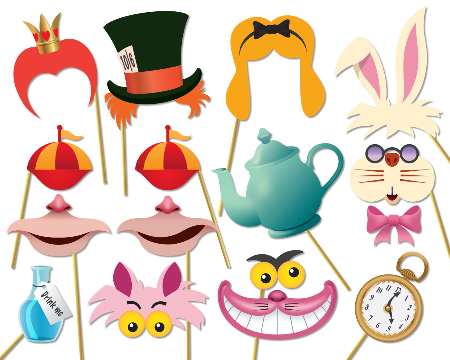 Alice in wonderland party photo booth props set printable for Mad hatter party props
