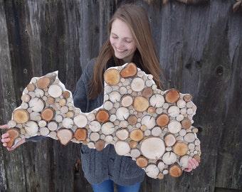 Wood slice home decor Map of Latvia