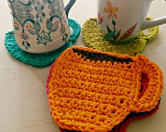 Crochet Coffee Mug Coaster Gift Set of 4