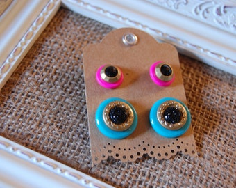 Unique Handmade Earrings, Button Earrings- colors